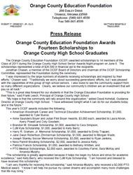 OCEF Scholarship 2011 Press Release