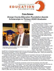 OCEF Scholarship 2012 Press Release