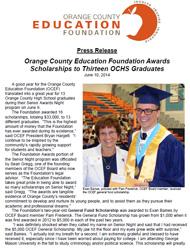 OCEF Scholarship 2014 Press Release