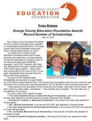 OCEF Scholarship 2015 Press Release