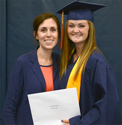 Summer Denny, pictured with Nora Brooking, received the 2016 Nora Pannill Brooking Scholarship